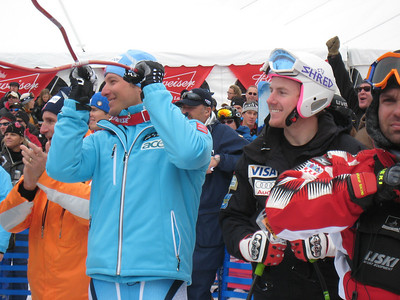 Aksel Lund Svindal (l) and Ted Ligety cheer in the finish at the end of the Birds of Prey super G in Beaver Creek, CO. Photo: Doug Haney/U.S. Ski Team