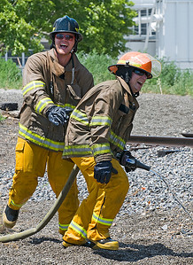 The men's alpine athletes of the U.S. Ski Team train with the Salt Lake City Fire Department. Photo: Tom Kelly/U.S. Ski Team