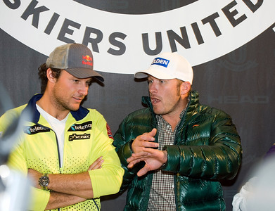 Olympic champ Bode Miller chats it up with Norway's Aksel Lund Svindal at a Head press conference in Soelden, Austria leading into the Audi FIS Alpine World Cup opener. (c) 2011 U.S. Ski Team/Tom Kelly