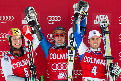 ALTA BADIA, ITALY - DECEMBER 16: Marcel Hirscher of Austria (L) 2nd placed racer and Ted Ligety of USA (C) winner and Thomas Fanara of France (R) 3rd placed racer on the podium for the Audi FIS Alpine Ski World Cup Giant Slalom race on December 16 2012 in Alta Badia, Italy. (Photo by Mitchell Gunn/ESPA) Image may be used for editorial use only.