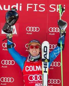 ALTA BADIA, ITALY - DECEMBER 16: Ted Ligety of USA with trophy for  winning the Audi FIS Alpine Ski World Cup Giant Slalom race on December 16 2012 in Alta Badia, Italy. (Photo by Mitchell Gunn/ESPA)  Image may be used for editorial use only.