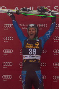 VAL GARDENA, ITALY - DECEMBER 15:  Steven Nyman of USA on the podium after winning Saslong  the Audi FIS Alpine Ski World Cup Downhill race on December 15 2012 in Val Gardena, Italy. (Photo by Mitchell Gunn/ESPA) Image may be used for editorial use only.