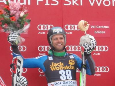 Steven Nyman of USA on the podium after winning Saslong  the Audi FIS Alpine Ski World Cup Downhill race on December 15 2012 in Val Gardena, Italy.  (Doug Haney/U.S. Ski Team)