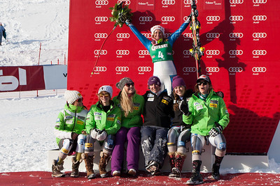 ST ANTON, AUSTRIA - JANUARY 12, Team USA women's speed team on the podium to celebrate Alice Mckennis victory on Kandahar course for the Audi FIS Alpine Ski World Cup downhill race in St Anton, Austria, on January 12 2013 (Photo by Mitchell Gunn/ESPA) Image may be used for editorial purposes only.