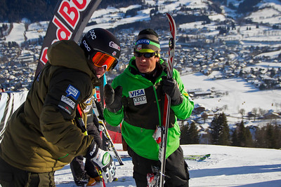KITZBUHEL, AUSTRIA - JANUARY 24: Marco Sullivan gets instruction from US Ski team head coach Sasha Rearick during the pre race course inspection prior to the Audi FIS Alpine Ski World Cup Downhill third official training session on January 24, 2013 in Kitzbuhel, Austria, (Photo by Mitchell Gunn/ESPA) Image may be used for editorial use only.