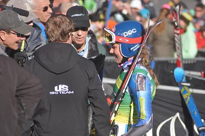Mikaela Shiffrin talks to the media after her first run 2012 Nature Valley Aspen Winternational Photo: Riley Steinmetz/USSA