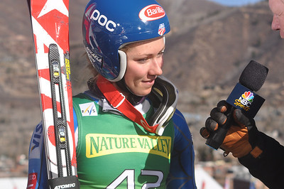 Mikaela Shiffrin talks to NBC after her first run 2012 Nature Valley Aspen Winternational Photo: Riley Steinmetz/USSA