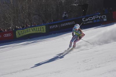 Julia Mancuso finishes her first run Nature Valley Aspen Winternational Photo: Riley Steinmetz/USSA