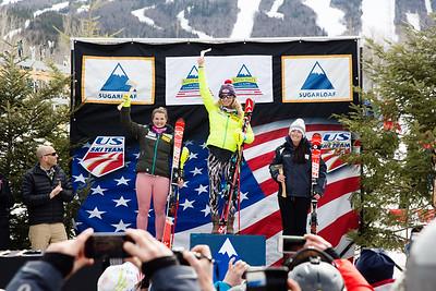 Junior Women's podium: Paula Moltzan, Mikaela Shiffrin and  Women's Slalom 2015 Nature Valley U.S. Alpine Championships at Sugarloaf Mountain, Maine Photo: USSA