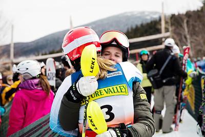Mikaela Shiffrin and Paula Moltzan Women's Slalom 2015 Nature Valley U.S. Alpine Championships at Sugarloaf Mountain, Maine Photo: USSA