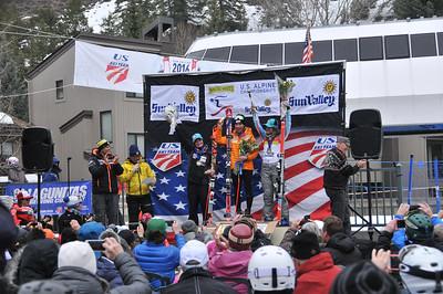 Megan McJames (2rd), Mikaela Shiffrin (1st) and Resi Stiegler (2nd) Women's GS 2016 Nature Valley U.S. Alpine Championships at Sun Valley, Idaho Photo: U.S. Ski Team