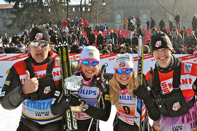 Jessie Diggins and Kikkan Randall take 2nd place in team sprint.  2012 FIS Cross Country World Cup in Milan, Italy. Photo © Matt Whitcomb/U.S. Ski Team