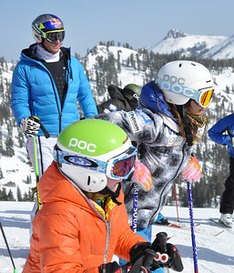 Squaw Valley 2012 U.S. Ski Team Day April 7, 2012 Aksel Lund Svindal (NOR) and Julia Mancuso Dawn Patrol with U.S. Ski Team Athletes and Olympic Sponsors Photo: Katie Perhai/USSA