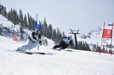 Squaw Valley 2012 U.S. Ski Team Day April 7, 2012 Pro-Am race Aksel Lund Svindal (light green), Marco Sullivan (dark green) Photo: Katie Perhai/USSA