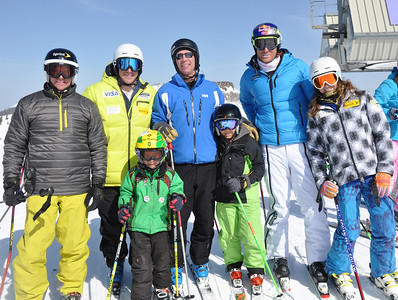 Squaw Valley 2012 U.S. Ski Team Day April 7, 2012 U.S. Ski Team alumni, Bob Ormsby, U.S. Ski Team alpine skier, Marco Sullivan, Norwegian skier, Aksel Lund Svindal, U.S. Ski Team alpine skier, Julia Mancuso Dawn Patrol with U.S. Ski Team Athletes and Olympic Sponsors Photo: Katie Perhai/USSA