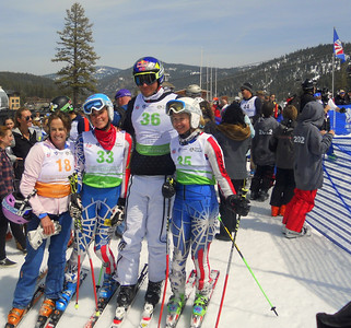 Squaw Valley 2012 U.S. Ski Team Day April 7, 2012 Pro-am finish area with Tamara McKinney, Aksel Lund Svindal and Far West racers  Photo: Ruth Flanagan/USSA