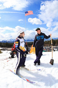 Jonathon Lillis speaking with Matt Saunders Aerials training 2013 Sprint U.S. Freestyle Championships at Heavenly Resort, California. Photo: Sarah Brunson/U.S. Ski Team