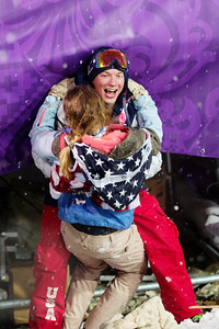 David Wise embraces wife Alexandra 2014 Olympic Winter Games - Sochi, Russia. Men's halfpipe skiing  Photo: Sarah Brunson/U.S. Freeskiing