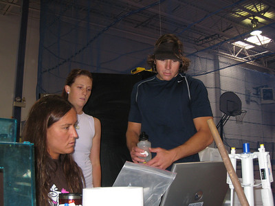 Team physiologist working with Lindsay Lloyd and Zac Kay (credit: U.S. Snowboarding)