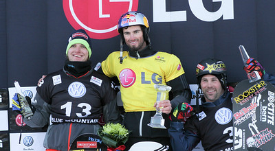 SBX World Cup Blue Mountain, CAN - Finals - Podium Men: 2nd David Speiser (GER), 1st Pierre Vaultier (FRA), 3rd Nick Baumgartner (USA) Photo © Oliver Kraus/FIS. Photo may be used for editorial purposes only.