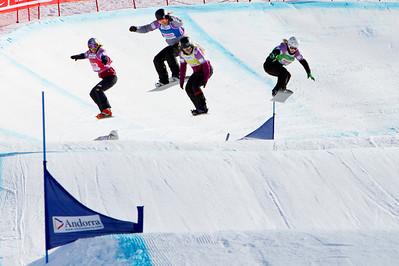 2014 FIS Snowboardcross World Cup - Vallnord, Andorra. Semi#2 Ladies  Jekova Alexandra (BUL)Green, Olafsen Helene (NOR)Yellow, Hernandez Jacqueline (USA)Blue, Samkova Eva (CZE)Red Photo © Mario Sobrino PHOTO MAY BE USED FOR EDITORIAL USE ONLY.