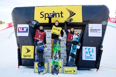 (l-r) Yiwei Zhang (CHN), Taylor Gold and Ben Ferguson 2014 Sprint U.S. Snowboarding Grand Prix at Copper Mountain, CO Halfpipe snowboarding finals Photo: Sarah Brunson/U.S. Snowboarding