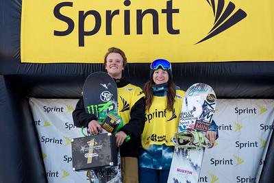 Taylor Gold and Kelly Clark 2014 Sprint U.S. Snowboarding Grand Prix at Copper Mountain, CO Halfpipe snowboarding finals Photo: Sarah Brunson/U.S. Snowboarding