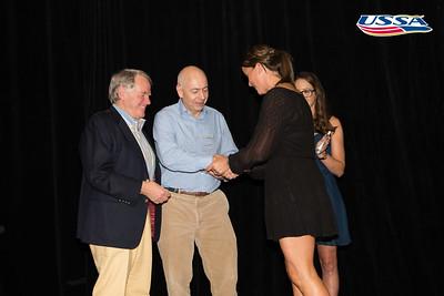 Deedee Corradini's husband and daughter accepting the award with Jessica Jerome John J. Clair Award: Deedee Corradini  2015 USSA Congress Chairman Award's Dinner Photo: USSA